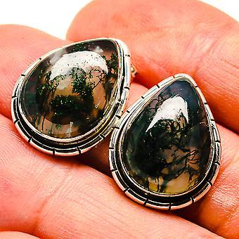 """Green Moss Agate Earrings 7/8"""" (925 Sterling Silver)  - Handmade Boho Vintage Jewelry EARR407461"""