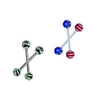 4 Tongue rings straight barbell patriotic design 14 ga
