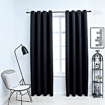 vidaXL Blackout curtains with metal detaches 2 pcs. black 140x175 cm