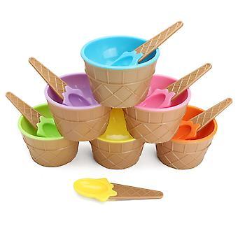6PCS Children's Plastic Ice Cream Bowls Spoons Set Durable Ice Cream Cup
