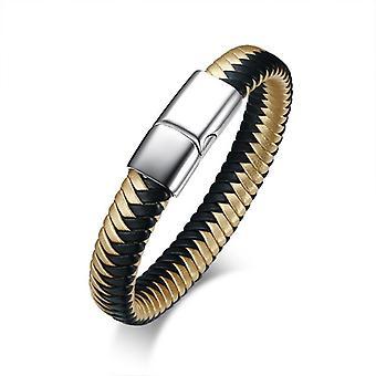Black Gold Din piele țesute Brățară Men & apos;s din oțel inoxidabil Lanț Magnet Cataramă
