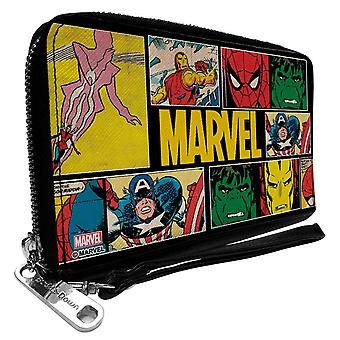 Marvel Retro Comics Panels Zip Around Wallet
