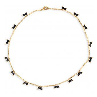 Gold-plated necklace With Black Crystal Ball Faceted 45cm
