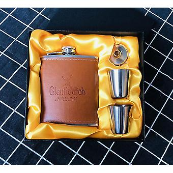 Mini 7oz Pu Leather Wrapped Metal Whisky Flagon Cccp Stainless Steel 304