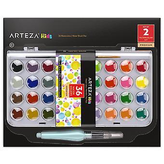 Arteza peinture à l'aquarelle pour enfants, ensemble de 36 gâteaux couleur vibrante, comprend 1 stylo brosse à eau (ensemble de 2