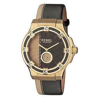 Rebel Women's Flatbush Black/Yellow Dial Leather Watch