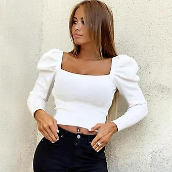 Women Autumn Shirts Solid Puff Sleeve Square Collar Slim Blouses Shirt