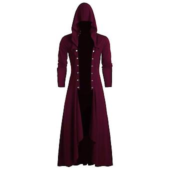 Men's Trench Retro Steam Punk Gothic Wind Cloak Coat, Black Solid Casual Summer