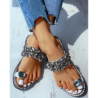 Summer Crystal Studded Toe Ring Flat Sandals Platform Peep Toe Flip Flops Shoes