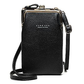 Leather Shoulder Strap Travelling Bag Mobile Phone Big Card Holders Wallet