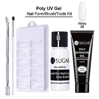 Poly Uv Gel Nail Set With Lamp Quick Building Nail Extension Varnish Clear Pink