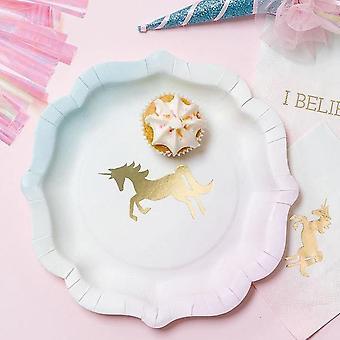 ユニコーン パーティー紙皿 x 12-ユニコーン子供のパーティー編は洗礼式