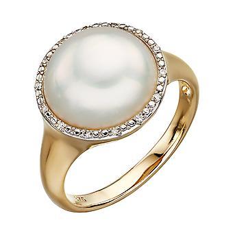 9ct Gelbgold Mabe Perle und Diamant Siegelring