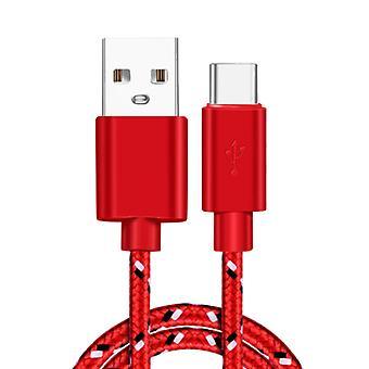 Irongeer USB-C Câble de charge 1 mètre nylon tressé - Enchevêtrement résistant chargeur câble de données rouge