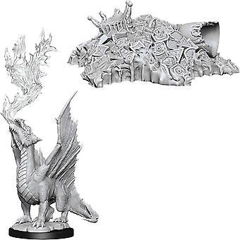 D&D Maravilloso Upainted Miniaturas Oro Dragón Wyrmling & Small Treasure Pile 6Pk