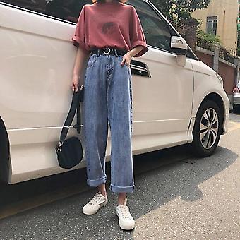 נשים מותניים גבוהים ג'ינס רטרו בגדי רחוב מכנסיים Bf יוניסקס גדול Harajuku