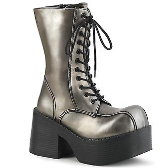 Demonia Femmes & s Boots PLATOON-202 Pewter Pu