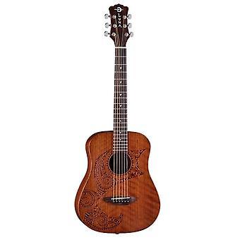 Luna safari series tattoo travel-size dreadnought acoustic guitar