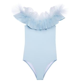 Blue Draped Swimsuit With Tulle