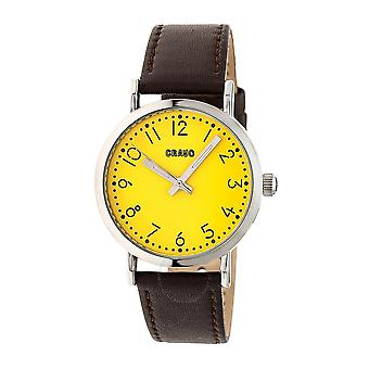 Crayo Pride Yellow Dial Brown Leather Watch CRACR3803
