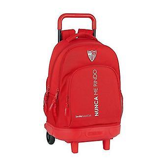 School Rucksack with Wheels Compact Sevilla Fútbol Club Red