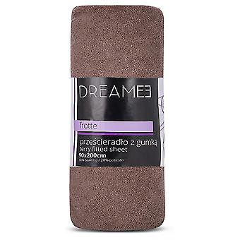 spanbed sheets Terry 90 x 200 cm cotton brown