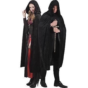 Cape noir aspect velours 170 cm adule Halloween