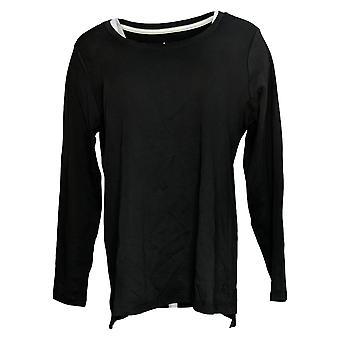 Isaac Mizrahi En vivo! Women's Top Hi-Low Hem Knit Negro A389762