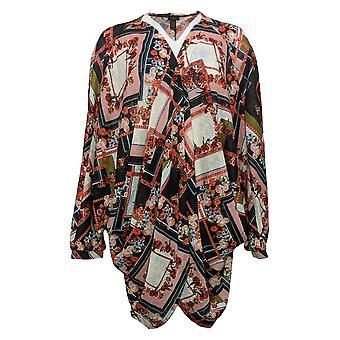 G.I.L.I. Got It Love It Women's Top Printed Cocoon Kimono Black A378938