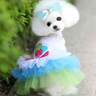 Dog cat clothes teddy princess mesh lace pettiskirt summer
