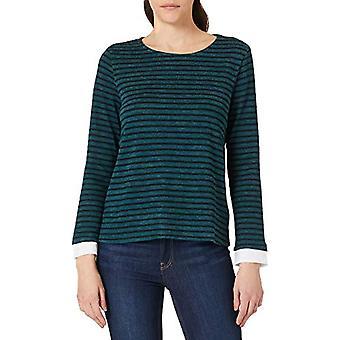 Springfield Camiseta Bimateria Rayas T-Shirt, Green, M Woman