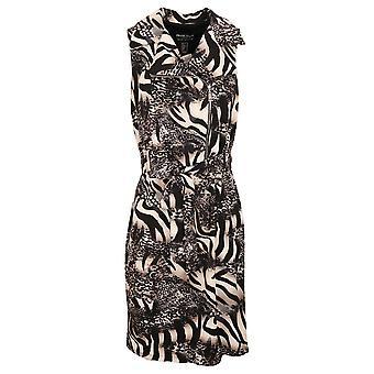 Frank Lyman Navy Blue & Beige Animal Print Sleeveless Open Collar Fitted Dress