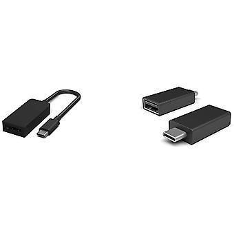 Surface USB-C auf DisplayPort Adapter & Oberfläche USB-C auf USB 3.0 Adapter Schwarz