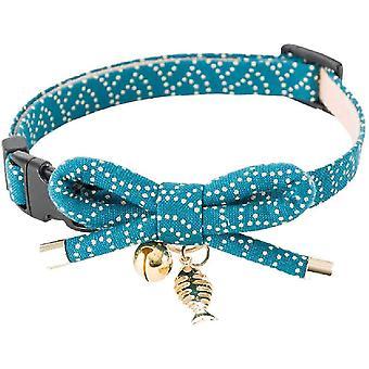 NECOICHI ZEN kattenhalsband blauw met vis bedel
