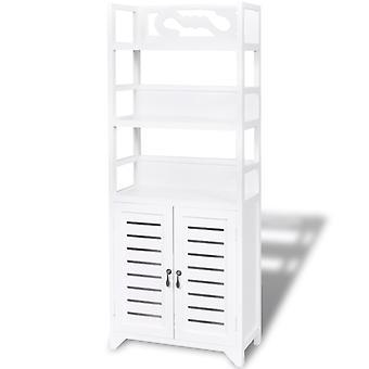 vidaXL Badezimmerschrank Albuquerque Holz Weiß 46x24x117,5 cm