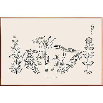 JUNIQE Print - Tomoki - Pegasus Woodblock Print - Chevaux posters en blanc cassé & noir
