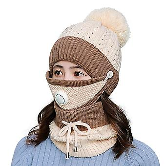 Winter Scarf Mask Set With Breathing Valve Thickened Knitted Hat(Khaki)