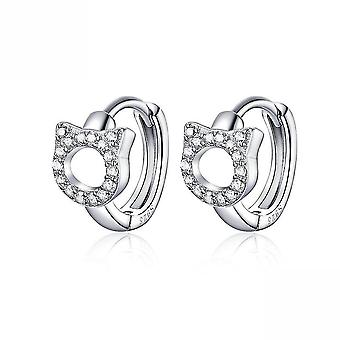 Earrings Cat Platinum Plated Earrings S925 Sterling Silver For Daily Use