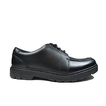 Clarks Loxham Pace Youth Black Leather Boys Lace Up School Shoes