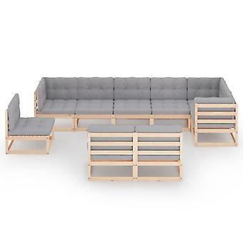 vidaXL 9-tlg. Garten-Lounge-Set mit Kissen Kiefer Massivholz