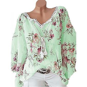 Lohill Plus Size Mujer Cuello en V Floral Estampado Tops Jersey Damas Blusa Casual Camisa