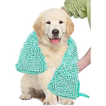 2X الكلب منشفة فائقة الامتصاص الشامي السوبر مع جيوب اليد، سريعة الجافة الناعمة الألياف الدقيقة chenille المواد مناشف حمام الحيوانات الأليفة، الأزرق والأخضر