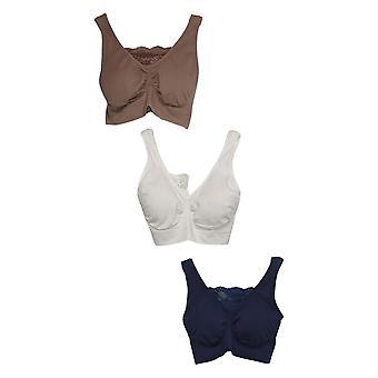 Rhonda Shear One 3-Pack Cotton Blend Ahh Bra W/ Lace Inset Blue 679965