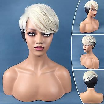 Black White Ladies Short Wig Ombre Natural Curly Straight Hair Cosplay Pop Party