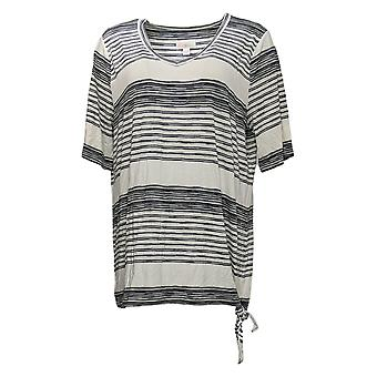 Belle by Kim Gravel Women's Top Variegated Striped Side Knot Negro A377255