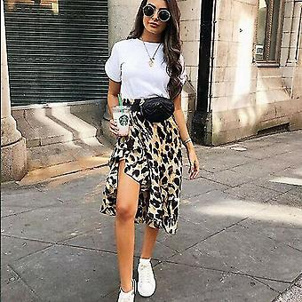 Leopard Skirt Women Fashion Sexy Wrap Over Asymmetrical Length Skirt
