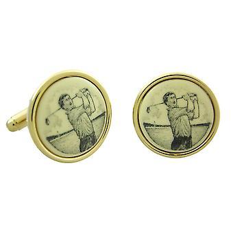Gold Plated Scrimshaw Golfer Manschettenknöpfe