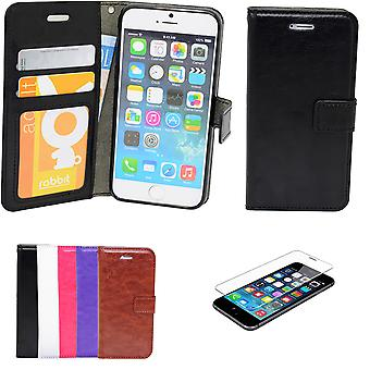 Iphone 5/5s/se2016 - Wallet Case In Leather + Screen Protector