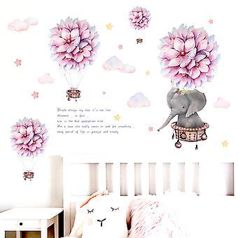 Fiore Elefante Adesivi da parete Decalcomanie Sfondo Sfondo Carta da parati decorativa