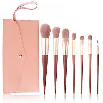 7pcs Makeup Brush Set Pink Portable Makeup Brush Soft Hair Beauty Tool
